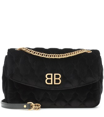 Balenciaga - BB quilted velvet shoulder bag - mytheresa.com