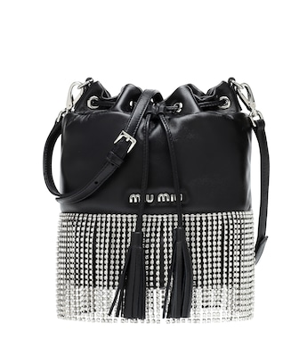 Miu Miu - Embellished leather bucket bag - mytheresa.com