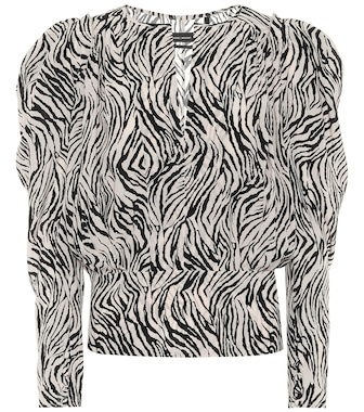 Isabel Marant - Zarga zebra-print stretch-silk top - mytheresa.com