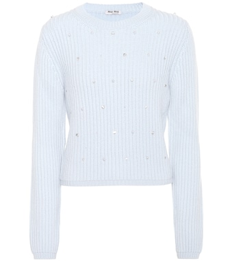 Miu Miu - Embellished knitted cashmere sweater - mytheresa.com