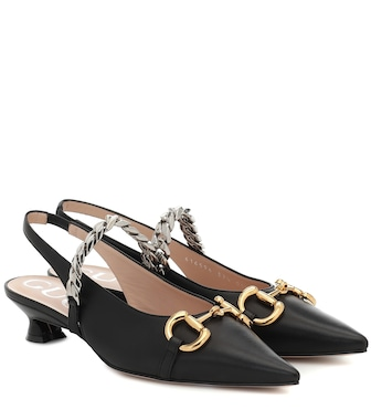 Gucci - Horsebit leather slingback pumps - mytheresa.com