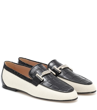 Tod's - Double T canvas and leather loafers - mytheresa.com