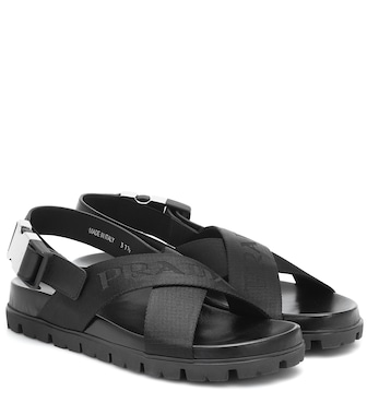Prada - Crossover leather and nylon sandals - mytheresa.com