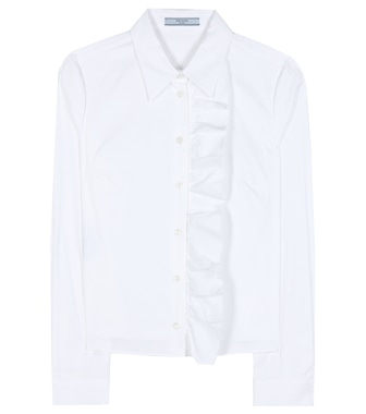 Prada - Ruffled cotton-blend shirt - mytheresa.com