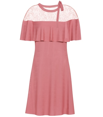 Valentino - Lace-trimmed crêpe dress - mytheresa.com
