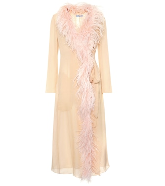 Prada - Feather-trimmed silk coat - mytheresa.com