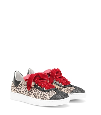 Monnalisa - Leopard-print leather sneakers - mytheresa.com