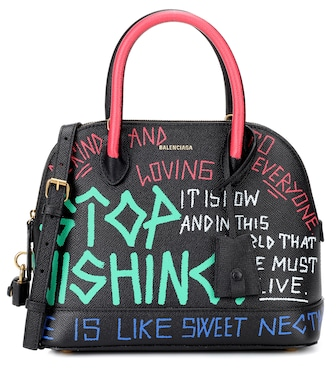 Balenciaga - Ville S Graffiti leather tote - mytheresa.com