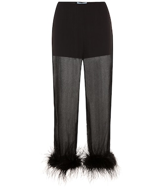 Prada - Feather-trimmed silk-chiffon trousers - mytheresa.com