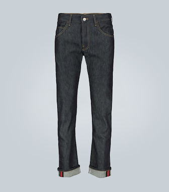 Gucci - Tapered denim pant with Web - mytheresa.com