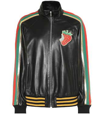 Gucci - Appliquéd leather bomber jacket - mytheresa.com