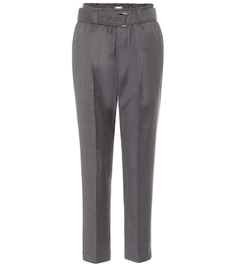 Brunello Cucinelli - Belted virgin-wool paperbag pants - mytheresa.com