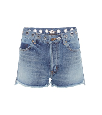 Saint Laurent - Embellished denim shorts - mytheresa.com