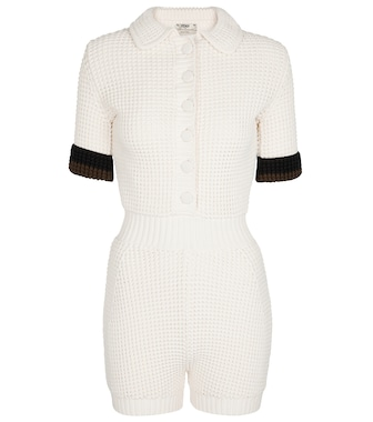 Fendi - Cotton-blend knit playsuit - mytheresa.com