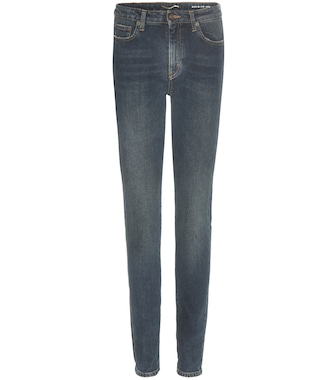 Saint Laurent - Distressed high-rise skinny jeans - mytheresa.com