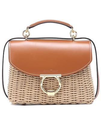 c42f7673f8 Salvatore Ferragamo - Margot leather-trimmed wicker shoulder bag - mytheresa .com