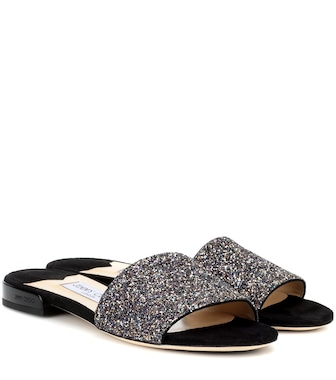 Jimmy Choo - Joni Flat leather and glitter sandals - mytheresa.com