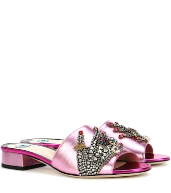 Gucci - Crystal-embellished metallic leather sandals - mytheresa.com