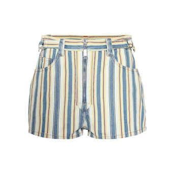 Miu Miu - High-rise striped denim shorts - mytheresa.com
