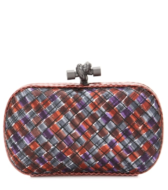 Bottega Veneta - Knot satin and snakeskin clutch - mytheresa.com