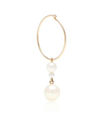 Sophie Bille Brahe - Exclusive to Mytheresa – Perla Hoop 14kt yellow gold and pearl single earring - mytheresa.com