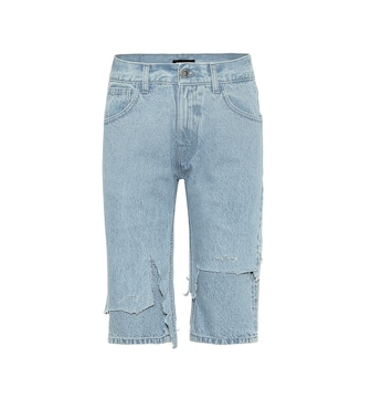 Raf Simons - Distressed mid-rise denim shorts - mytheresa.com