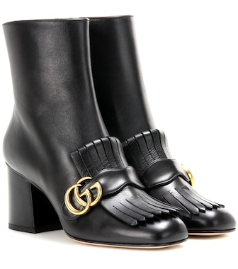 Gucci - Embellished leather ankle boots - mytheresa.com