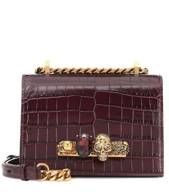 Alexander McQueen - Jewelled Small leather shoulder bag - mytheresa.com