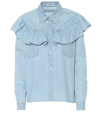 Miu Miu - Ruffled denim blouse - mytheresa.com