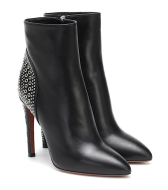 Alaïa - Embellished leather ankle boots - mytheresa.com
