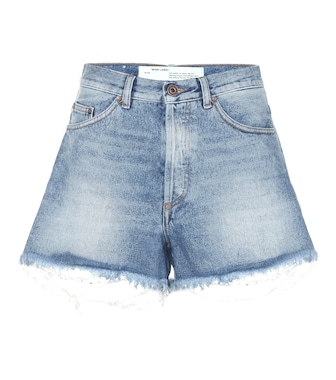 Off-White - Distressed jean shorts - mytheresa.com