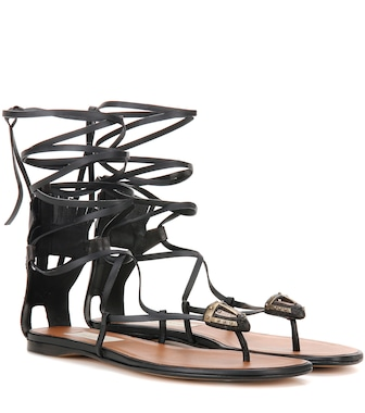 Valentino - Valentino Garavani Leather lace-up sandals - mytheresa.com