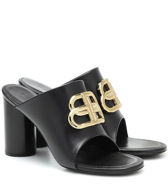 Balenciaga - BB leather sandals - mytheresa.com