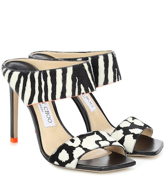 Jimmy Choo - Hira 100 printed calf hair sandals - mytheresa.com