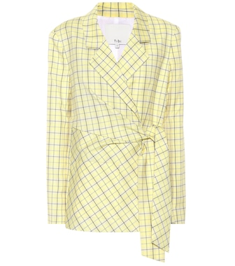 Tibi - Checked wool-blend wrap blazer - mytheresa.com