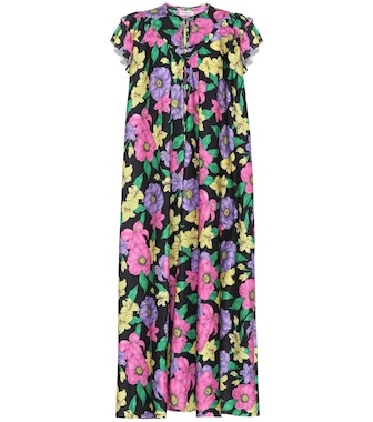 Balenciaga - Floral satin midi dress - mytheresa.com