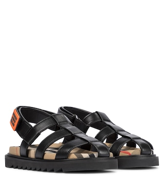 Burberry Kids - Vintage Check leather sandals - mytheresa.com