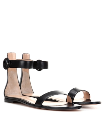 Gianvito Rossi - Portofino Flat leather sandals - mytheresa.com