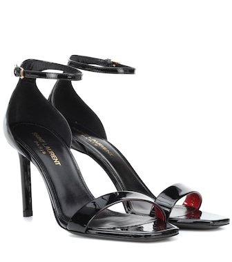 Saint Laurent - Amber 85 patent leather sandals - mytheresa.com