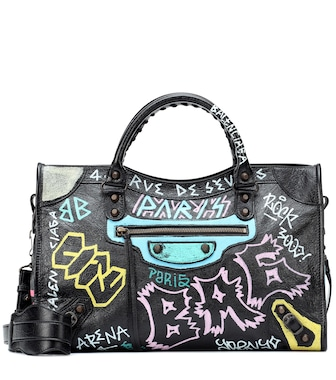 Balenciaga - Classic City Graffiti leather tote - mytheresa.com