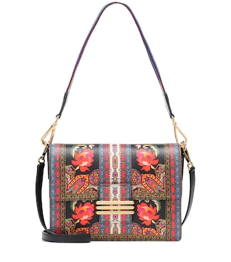 Etro - Printed leather shoulder bag - mytheresa.com