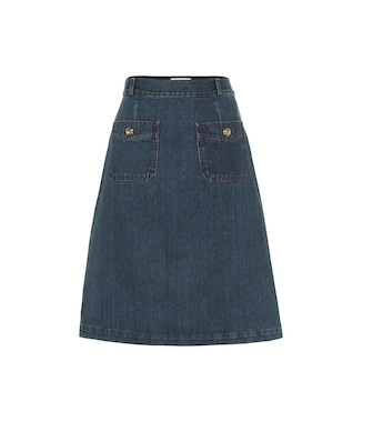 Gucci - Cotton denim midi skirt - mytheresa.com