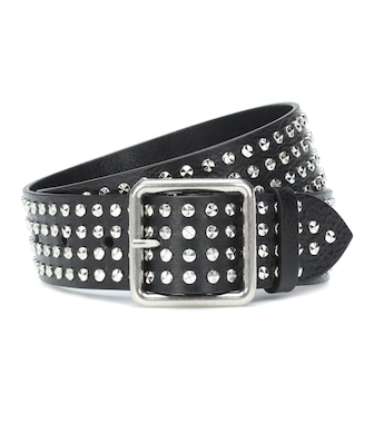 Alexander McQueen - Embellished leather belt - mytheresa.com