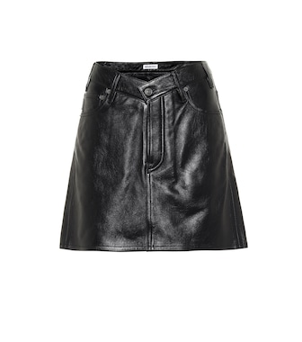Balenciaga - V-neck leather miniskirt - mytheresa.com