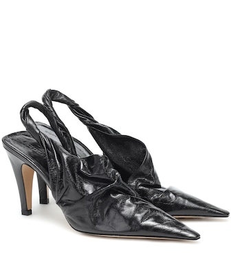 Bottega Veneta - BV Point 90 leather slingback pumps - mytheresa.com