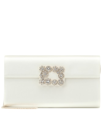 Roger Vivier - Flower Buckle satin clutch - mytheresa.com