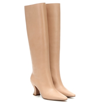 Bottega Veneta - Almond leather knee-high boots - mytheresa.com