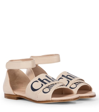 Chloé Kids - Logo leather-trimmed sandals - mytheresa.com