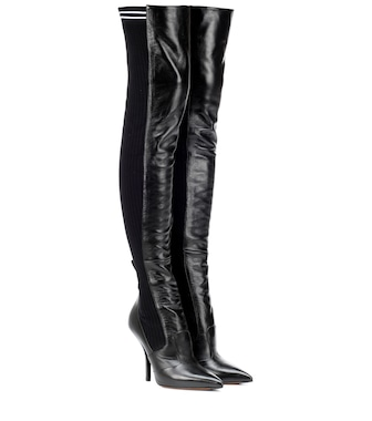 Fendi - Leather over-the-knee boots - mytheresa.com