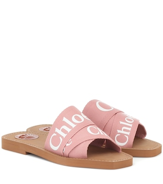 Chloé - Woody canvas slides - mytheresa.com